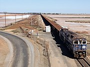 BHP iron ore train arriving into Port Hedland.