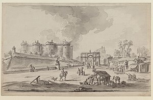 Porte Saint-Antoine - The porte Saint-Antoine and the Bastille in a 1789 drawing by J.-B. Lallemand.