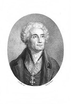 Joseph de Maistre - Stipple engraving of Maistre, from a painting by Pierre Bouillon. He is shown wearing the insignia of the Order of Saints Maurice and Lazarus.