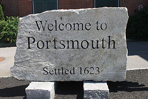 Portsmouth, New Hampshire - Welcome sign in downtown Portsmouth