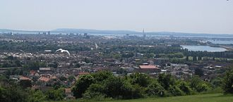 Portsea Island - View of Portsmouth and Portsea Island from Portsdown Hill, UK