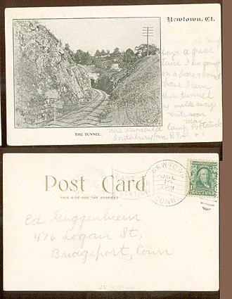 Housatonic Railroad - Railroad tunnel which still exists, unused, in Newtown, Connecticut, as pictured in a postcard sent in 1905