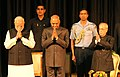 Pranab Mukherjee, the President-elect, Shri Ram Nath Kovind and the Prime Minister, Shri Narendra Modi at the release of the Volume 4 of President Pranab Mukherjee's selected speeches, at Rashtrapati Bhavan, in New Delhi.jpg