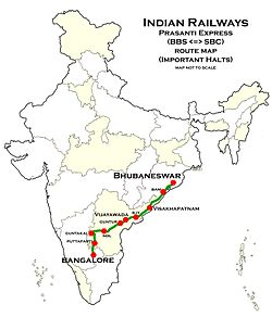 Prashanti Express route map.jpg