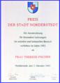 Preis der Stadt Norderstedt 1992 -- Urkunde für Therese Fischer .png