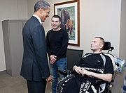 President Barack Obama visits LTC Alex Tugushi (March 2 2012)