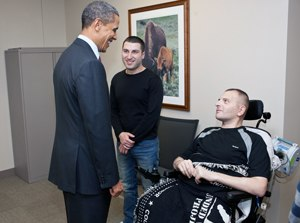 Georgia–United States relations - President Obama visiting a Georgian soldier, Alexandre Tugushi, who was wounded in Afghanistan.