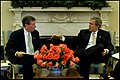 President George W. Bush meets with Attorney General John Ashcroft in 2003.jpg