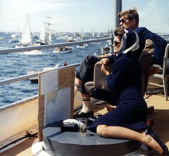 USS Joseph P. Kennedy Jr. (DD-850) - John and Jacqueline Kennedy watching America's Cup race on board Joseph P. Kennedy Jr., September 1962