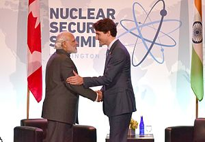 Canada–India relations - Indian Prime Minister Narendra Modi with the Canadian Prime Minister Justin Trudeau, during the 2016 NSS, April 2016.