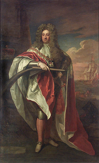 Prince George of Denmark - Prince George wearing a ducal robe with the collar of the Garter, by Godfrey Kneller, c. 1704. Behind him, a ship offshore is flying the Admiralty flag.
