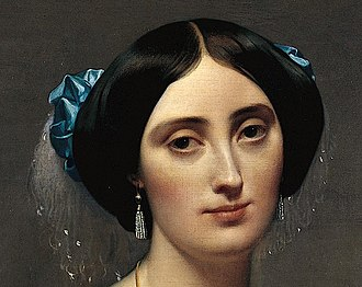The Princesse de Broglie - Detail showing pearl earrings and draped pearl laced maribou feathers