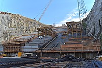 Progress in the lower chute of the Folsom Dam auxiliary spillway (15704285465).jpg