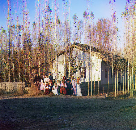 Russian settlers in Central Asia, present-day Kazakhstan, 1911 Prokudin-Gorskii Russians in Central Asia.jpg