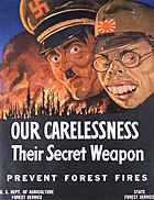 World War II anti-forest fire propaganda, featuring Adolf Hitler and Hideki Tojo.