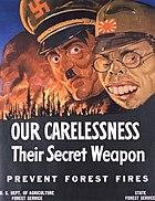 World War II anti-forest fire propaganda, featuring Adolf Hitler and Hideki Tojo.
