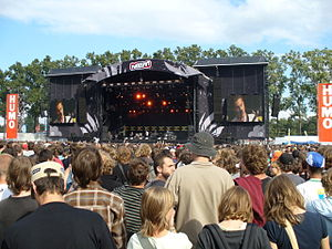 Pukkelpop - British band Editors performing on the Main Stage at the 2007 edition.