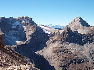 Punta Sommeiller - The mountain (left) with Sommeiller's pass (2993 m) and Rognosa d'Etiache
