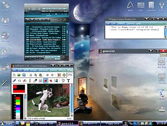 Puppy Linux - Desktop with one of multiple integrated themes with XMMS a multimedia player, mtPaint a painting program for creating pixel art and manipulating digital photos and mplayer running, plus an opened text file under Puppy Linux 2.15 CE Viz (with default WM: IceWM)