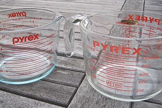 Pyrex - A clear borosilicate glass Pyrex measuring cup produced by Corning (right) and a clear tempered Pyrex soda-lime glass measuring cup produced by World Kitchen (left, differentiated by its different logo and bluish tint)