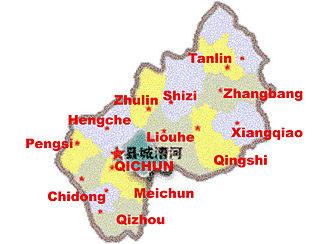 Qichun County - Qichun County Map, showing precinct names in pinyin.