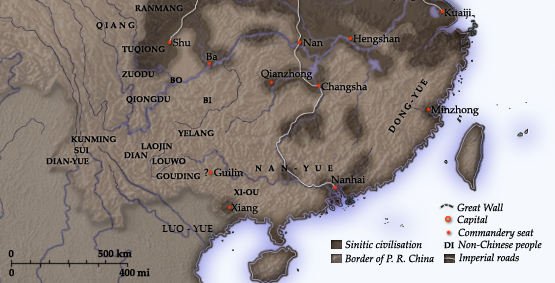 Qin Empire in the south of Yangtze River (210 BC)