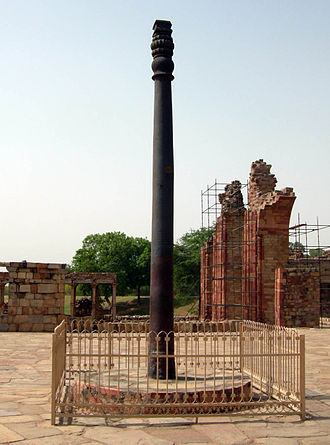 Wrought iron - Iron pillar of Delhi, India, containing 98% wrought iron