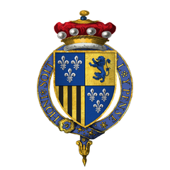 Quartered arms of Sir Thomas Burgh, 7th Baron Strabolgi, KG.png
