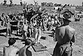 RAF personnel watch Carolyn Wright and Roberta Robertson tap-dancing during an impromptu ENSA (Entertainments National Service Association) show at an airfield in Burma, February 1945. CI1053.jpg