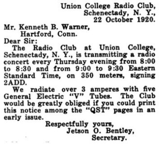 WRUC - Image: Radiophone concert announcement for 2ADD, Union College 1920