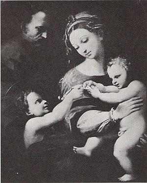 La Madonna de Bogota (Raphael) - La Madonna de Bogota by Raphael; after restoration work by Leo. A Marzolo.
