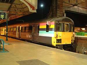 Driving Brake Standard Open - 'one' liveried DBSO 9710 at Norwich station in April 2004
