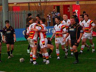 Dewsbury Rams - Rams players celebrate a try against local rivals Batley