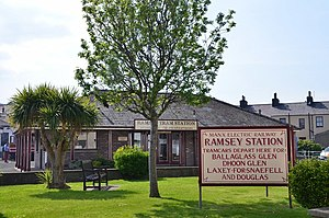 Ramsey railway station (MER) - The tram station from the street side