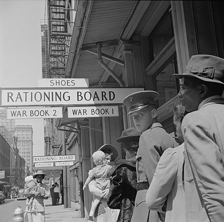 1943 waiting line at wartime Rationing Board office in New Orleans RationingBoardNOLAVachonC.jpg