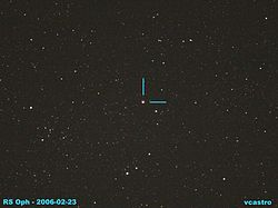 Recurrent nova RS Ophiuchi as seen 23 FEB 2006 from Mt Laguna, Calif.jpg