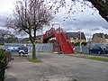 Red bridge and blue cars at Alloa - geograph.org.uk - 1008462.jpg