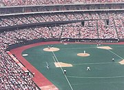 Riverfront Stadium during a Cincinnati Reds game vs. the Chicago Cubs on May 23, 1988.