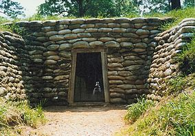 Restored entrance to the mine destroyed in the Battle of the Crater