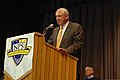 Retired U.S. Navy Adm. Henry Mauz, at the lectern, delivers the keynote address at a Naval Postgraduate School graduation ceremony March 29, 2013, at the school in Monterey, Calif 130329-N-OH194-159.jpg