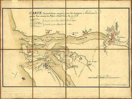 A 1778 French military map showing the positions of generals Lafayette and Sullivan around Newport Bay on 30 August 1778