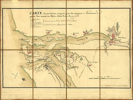 A 1778 French military map showing the positions of generals Lafayette and Sullivan around Narragansett Bay on August 30 Rhode-island-map.jpg