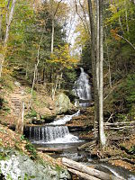A front view of a tall cascade with a hiking trail visible to the left as it ascends the hillside beside the falls. A long fallen tree crosses the stream at the foot of the falls. Some of the fallen tree's limbs have been cut, as straight and equal cuts are visible. The trees are in various stages of autumn color and conifer saplings line the bank.
