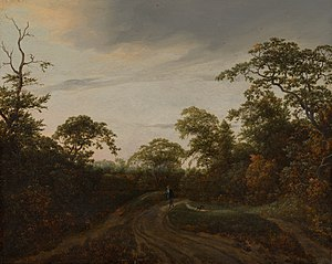 Road through a Wooded Landscape at Twilight