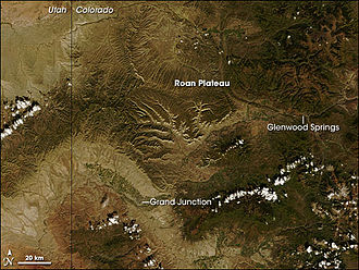 Roan Plateau - Roan Plateau, Colorado, NASA satellite image.