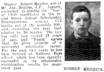 Article in Melbourne Punch detailing Menzies's feat of topping the state school examinations at the age of 13 Robert Menzies, age 13.jpg