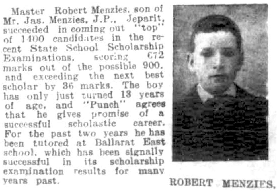 Robert Menzies, age 13
