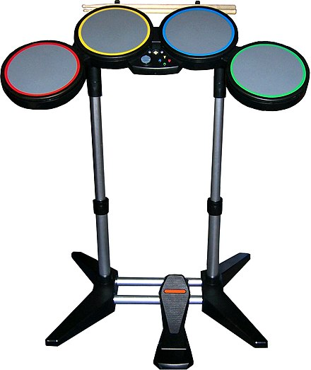 The first generation Rock Band drum controller, featuring four pads and a bass pedal. Rockband-drumset.jpg