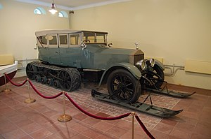 Half-track - Vladimir Lenin's Rolls-Royce Silver Ghost with Kegresse track, converted by the Putilov plant, at Gorki Leninskiye