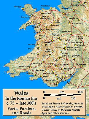 Wales in the Roman era - Image: Roman.Wales.Forts.Fo rtlets.Roads
